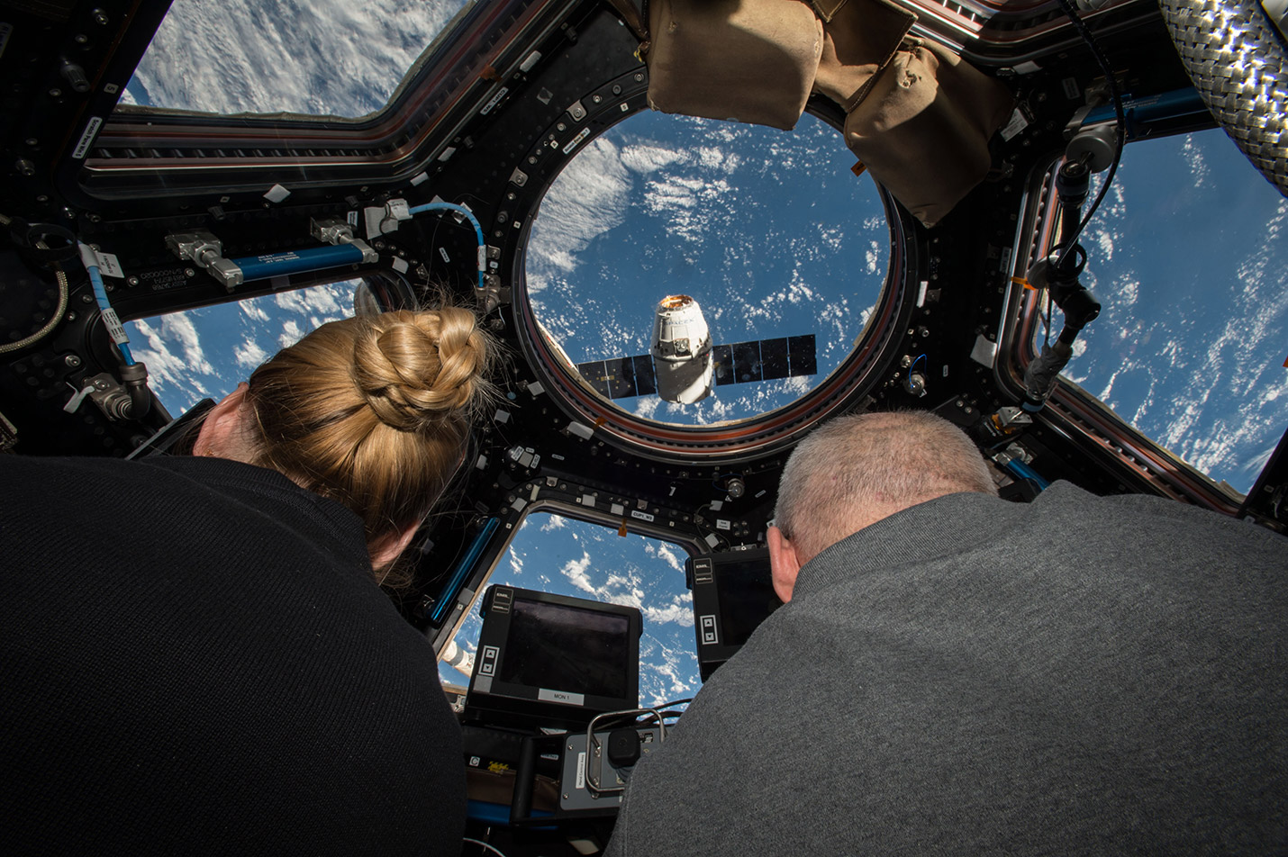 NASA astronauts Kate Rubins and Jeff Williams used the ISS's robotic arm to catch and berth a SpaceX Dragon capsule